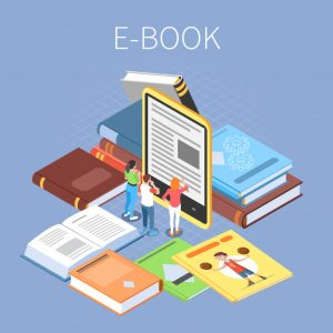 7453dc56 library concept with online reading ebooks symbols isometric 1284 33405