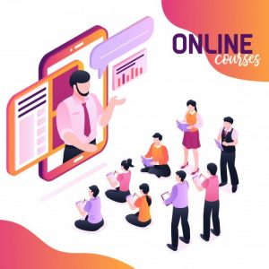 9850228a online courses isometric with speaking lecturer image smartphone screen group young pupils writing notebooks 1284 31494 1
